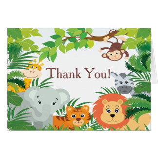 Cartes Merci moderne de baby shower de safari de jungle