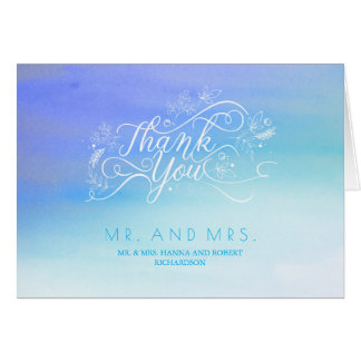 Cartes Merci moderne de typographie d'aquarelles bleues