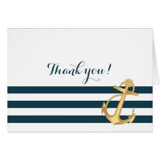 Cartes Merci nautique de baby shower d'ancre d'or