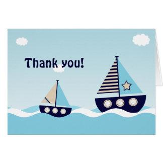 Cartes Merci nautique de baby shower de bébé de voilier
