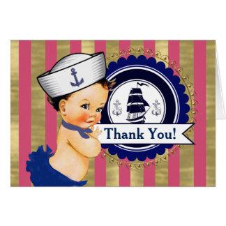 Cartes Merci nautique de baby shower de filles