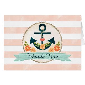 Cartes Merci nautique de mariage de marine de corail