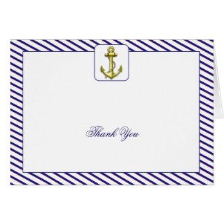 Cartes Merci nautique de mariage de rayure bleue d'ancre