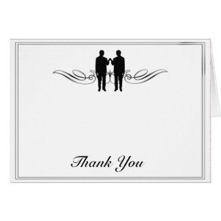 Cartes Merci noir et blanc de mariage de marié d'élégance