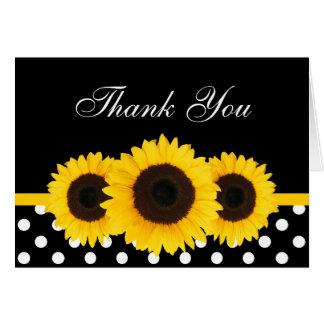 Cartes Merci noir et blanc de point de polka de tournesol