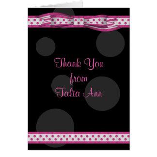 Cartes Merci noir rose de bat mitzvah de ruban de point