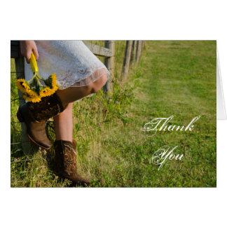Cartes Merci occidental de cow-girl et de mariage de