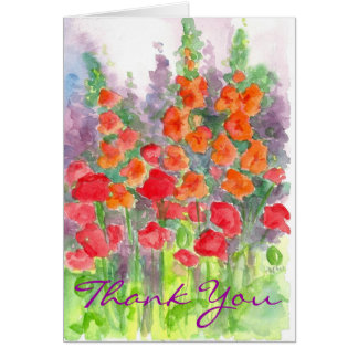 Cartes Merci orange d'aquarelle de fleur de Gladiola de