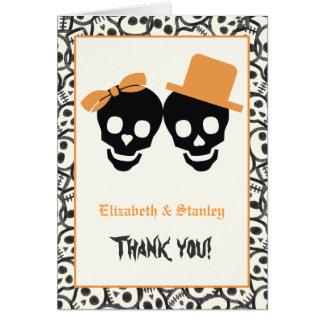 Cartes Merci orange de mariage de Halloween de crânes