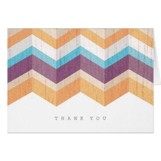 Cartes Merci orange et bleu pourpre à la mode de Chevron