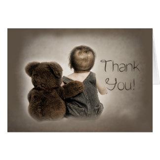 Cartes Merci - ours de bébé et de nounours (amis) Brown