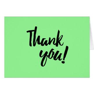 Cartes Merci pâle - manuscrit noir en pastel vert de