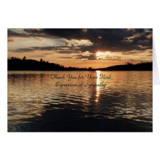 Cartes Merci pour la sympathie, coucher du soleil d'or au