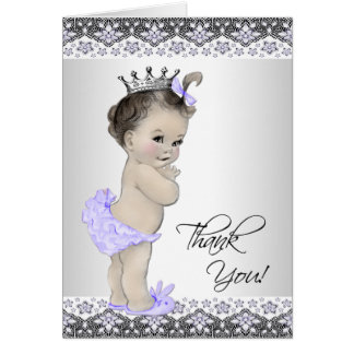 Cartes Merci pourpre de princesse baby shower