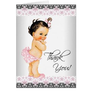 Cartes Merci rose de baby shower de fille de dentelle