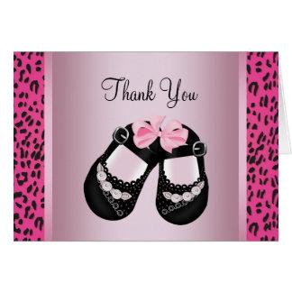 Cartes Merci rose de baby shower de léopard