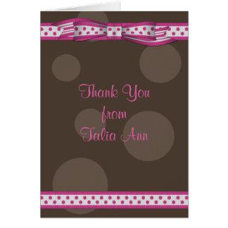 Cartes Merci rose de bat mitzvah de ruban de point de