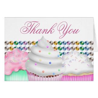 Cartes Merci rose de petit gâteau