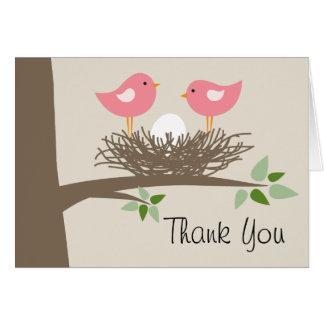 Cartes Merci rose des couples   du nid d'oiseau de bébé