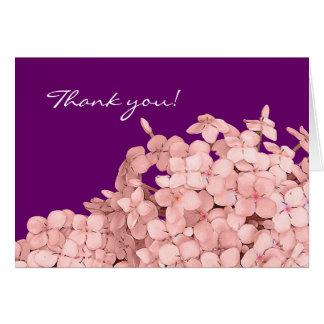 Cartes Merci rose d'hortensia