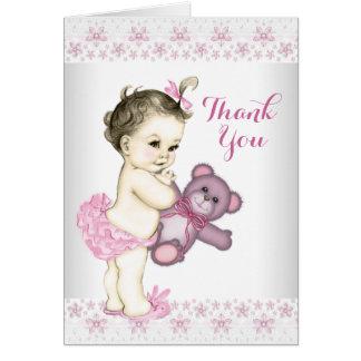 Cartes Merci rose d'ours de nounours