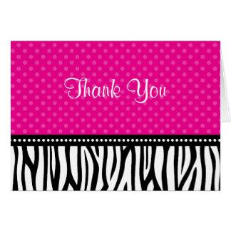 Cartes Merci rose et noir de point de polka de zèbre