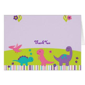 Cartes Merci rose et pourpre de dinosaure