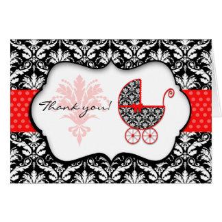 Cartes Merci rouge chic de baby shower de damassé de