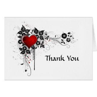 Cartes Merci rouge de coeur de remous floraux noirs