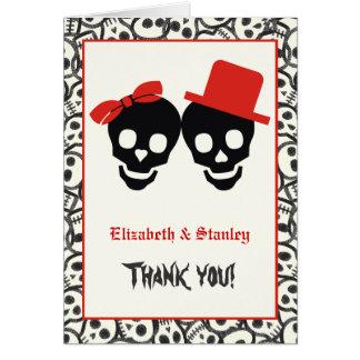 Cartes Merci rouge de mariage de Halloween de crânes