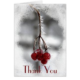 Cartes Merci rouge givré d'hiver de baies