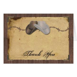 Cartes Merci rustique de barbelé de casquettes de cowboy