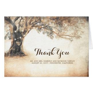 Cartes Merci rustique de mariage de chêne