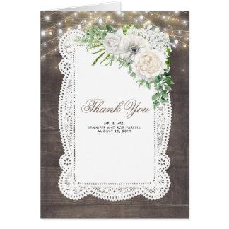 Cartes Merci rustique de mariage de grange de fleurs