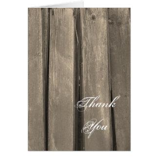 Cartes Merci rustique en bois de grange de pays