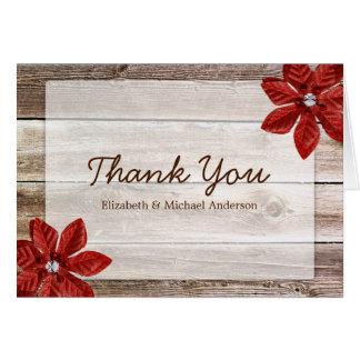 Cartes Merci rustique en bois de grange de poinsettia