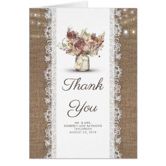 Cartes Merci rustique floral de mariage de toile de jute