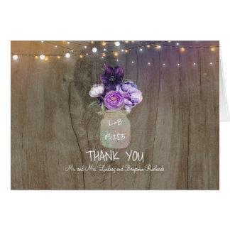 Cartes Merci rustique floral pourpre de mariage de pot de