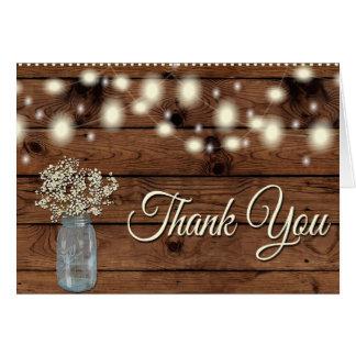 Cartes Merci rustique, pot de maçon, Merci floral