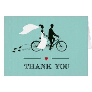 Cartes Merci tandem de mariage d'Aqua de bicyclette