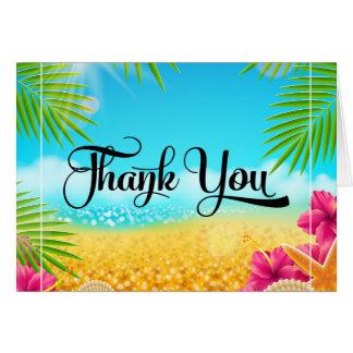 Cartes Merci tropical de ketmie de rose de plage