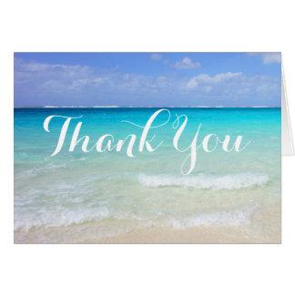 Cartes Merci tropical des Caraïbes bleu azuré de plage