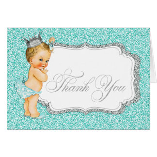 Cartes Merci turquoise de bébé bleu