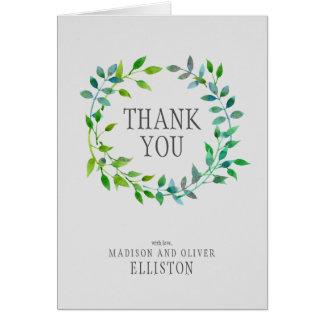 Cartes Merci vert de la guirlande   de feuille