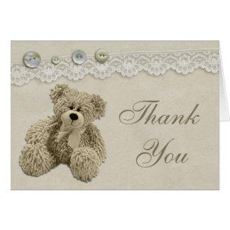 Cartes Merci vintage de dentelle d'ours de nounours
