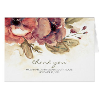 Cartes Merci vintage de mariage d'aquarelle florale