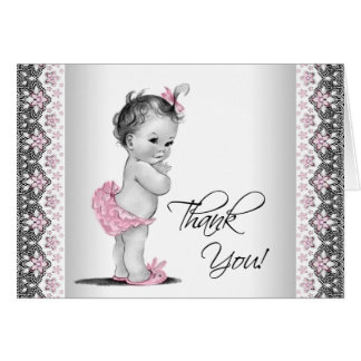 Cartes Merci vintage gris rose de baby shower