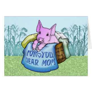 Cartes Mère, le jour de mère, porc mignon dans un panier