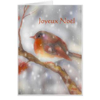 Cartes merle et flocons de neige de noel de joyeux