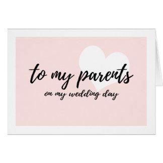 """Cartes Mignon rougissent le coeur """"à mes parents mon jour"""